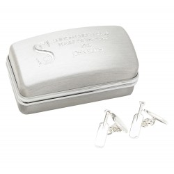 Silver-Plated Cricket Cufflinks in Engraved Box