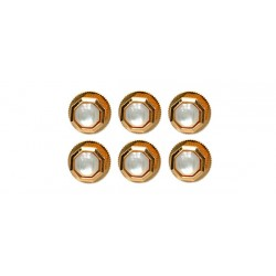 Set of 6 Octagon Dress Shirt Studs - Mother of Pearl and Gold Plate