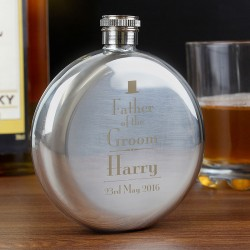 Personalised Father of the Groom Round Hip Flask