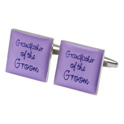 Square Lilac - Grandfather of the Groom Cufflinks