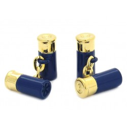 Blue and Gold Chain-Link Shotgun Cartridge Cufflinks