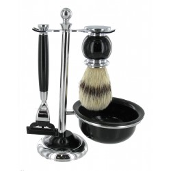 Black Shaving Set with Bristle Brush and Bowl