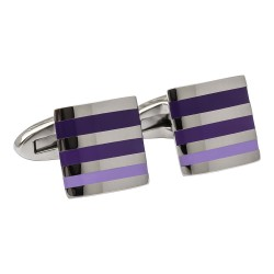 Fredbennett Stainless Steel with Purple Enamel Stripes Designer Cufflinks