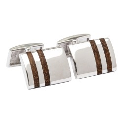 Fredbennett 925 Silver with Wood Inlay Designer Cufflinks