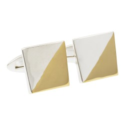 Gold and Silver Square 925 Silver Designer Cufflinks from fredbennett
