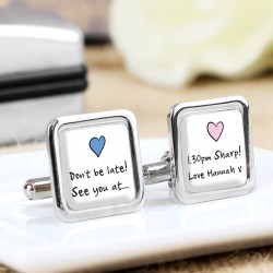 Pink & Blue Heart Any Message Personalised Cufflinks