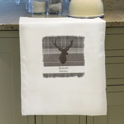 Personalised Tartan Highland Stag Tea Towel