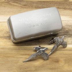 Pewter Flying Pheasant Cufflinks And Personalised Engraved Cufflinks Box