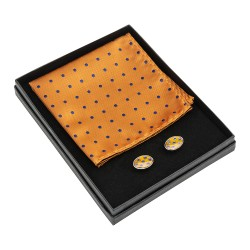 Orange and Navy Spot Cufflinks and Pocket Square Set