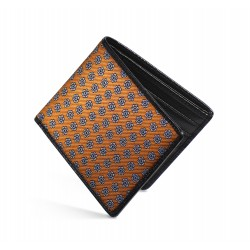 Dalvey Slim Billfold Wallet - Black Caviar Leather & Orange Madder Silk