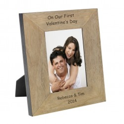 Personalised On Our First Valentines Day Wood Frame 6x4