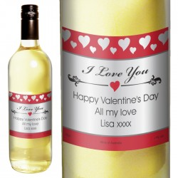 Personalised Hearts I Love You White Wine