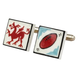 Welsh Rugby Bone China Cufflinks