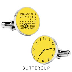 Personalised Special Date and Time Cufflinks - Daisy Yellow