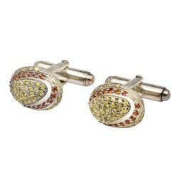 Sterling Silver Dome Crystal Cufflinks