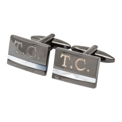 Gunmetal Mother of Pearl - Initials Engraved Cufflinks