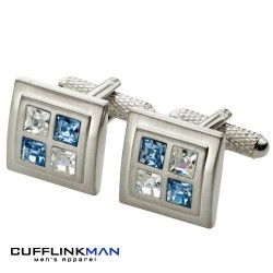 Sapphire and Crystal Squared Cufflinks