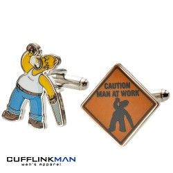Simpsons Caution Man At Work Cufflinks