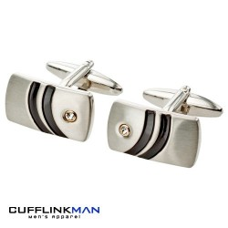 Aztec Black Stripe Curve Cufflinks with Crystal