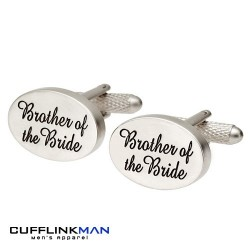 Oval Italics - Brother of the Bride Cufflinks