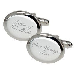 Personalised - Silver Plated Oval Father of The Bride Cufflinks