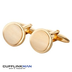 Gold plated Brushed Curved Circles Cufflinks