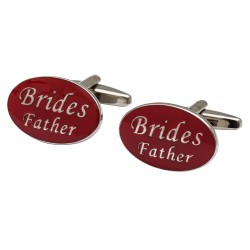 Oval Red - Brides Father Cufflinks
