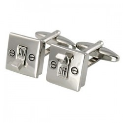 On and Off Electric Light Switch Cufflinks