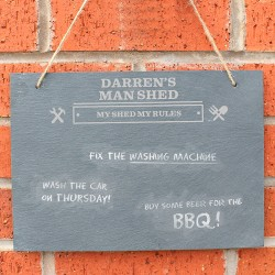 Man At Work Personalised Slate Sign