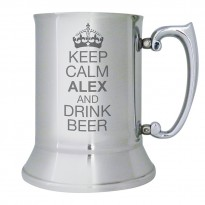 Keep Calm Personalised Stainless Steel Tankard
