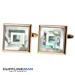 Mother of Pearl and Paua shell - Gold edge Cufflinks