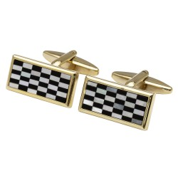 Chequerboard Mother of Pearl and Onyx Cufflinks