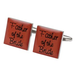 Square Orange - Father of the Bride Cufflinks