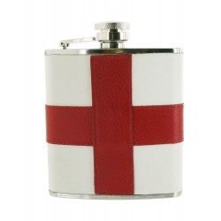 St George Cross Leather Hip Flask - 6oz Stainless Flask