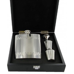 6oz Lined Pattern Flask with Funnel and Cups