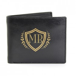 Black Shield Leather Wallet - Personalise With Initials