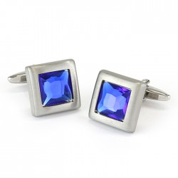 Brushed Rhodium and Blue Crystal