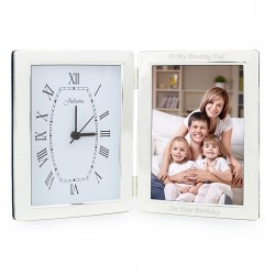 Engraved Silver Clock and 6x4 Photo Frame